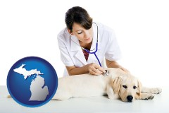 michigan map icon and a female veterinarian caring for a Labrador retriever
