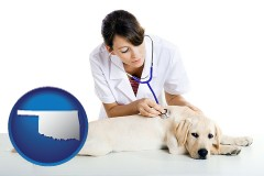 oklahoma map icon and a female veterinarian caring for a Labrador retriever