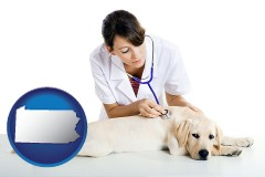 pennsylvania map icon and a female veterinarian caring for a Labrador retriever